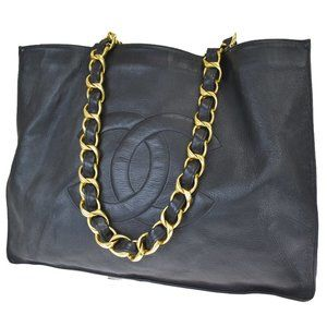 Authentic CHANEL lambskin black tote gold handles